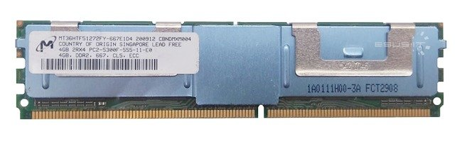 Memory RAM 1x 4GB Micron ECC FULLY BUFFERED DDR2 667MHz PC2-5300 FBDIMM | MT36HTF51272FY-667